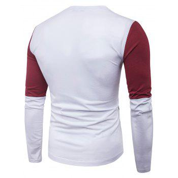 Color Block Panel Design Long Sleeve T-shirt - WHITE WHITE