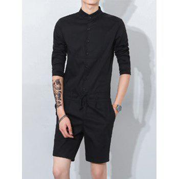 Mandarin Collar Half Button Up Drawstring Romper - BLACK BLACK