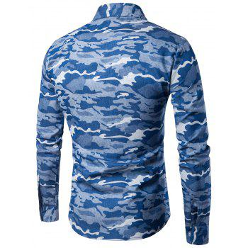 Camouflage Long Sleeve Denim Shirt - LIGHT BLUE LIGHT BLUE