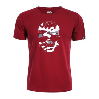 Skull Print Graphic Camo Men Tee - RED RED