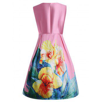 3D Floral Print Plus Size Vintage Dress with Pockets - PINK XL