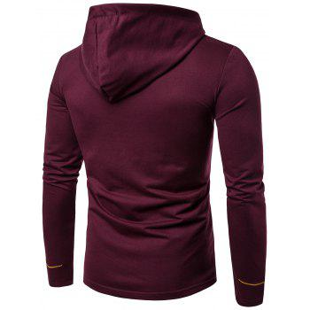 Oblique Buttons Design Embroidered Long Sleeve T-shirt - WINE RED XL