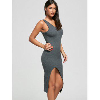 Cut Out Ribbed Bodycon Dress - OYSTER OYSTER