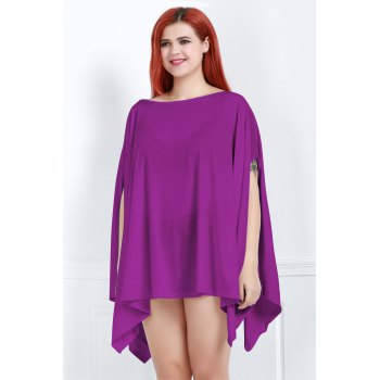 Handkerchief Plus Size Caped Top with Batwing Sleeve - PURPLE S