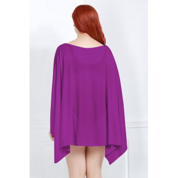 Handkerchief Plus Size Caped Top with Batwing Sleeve - PURPLE L