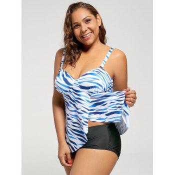 Printed Front Slit Plus Size Tankini Bathing Suit - BLUE 5XL