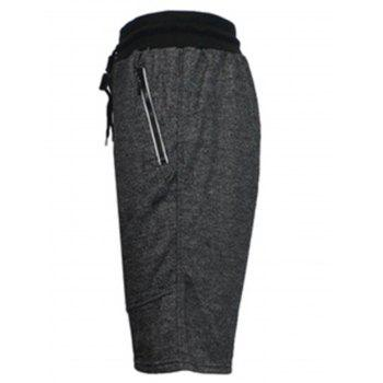 Zip Up Pockets Drawstring Sweat Capri Pants - DEEP GRAY S