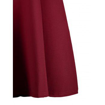 Plus Size Self Tie Open Shoulder Skater Dress - WINE RED WINE RED