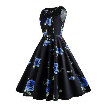 Plus Size Floral Printed Retro Dress - BLUE XL