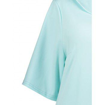 Plus Size Collared A Line Dress with Pockets - LIGHT BLUE 2XL