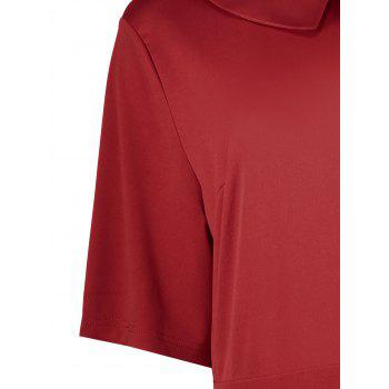 Plus Size Collared A Line Dress with Pockets - RED 5XL