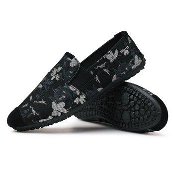 Flower Printed Casual Slip On Sneakers - BLACK 44