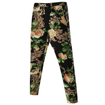 Peony Printed Drawstring Waist Pants - FLORAL FLORAL