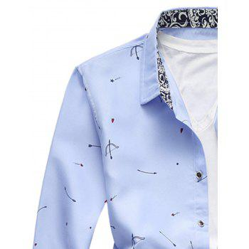 Button Arrow Print Long Sleeve Shirt - LIGHT BLUE L