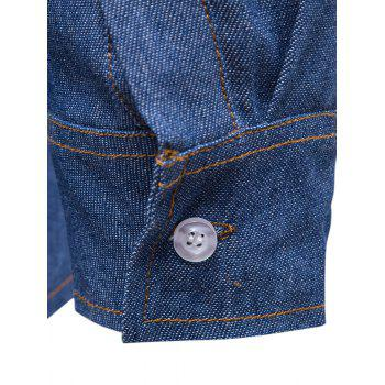 Long Sleeve Suture Design Label Denim Shirt - LIGHT BLUE L