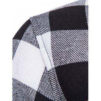 Hooded Panel Pocket Long Sleeve Tartan Shirt - BLACK WHITE L