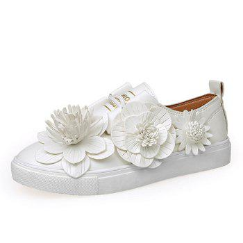 Flower Embellished Faux Leather Sneakers - WHITE 39