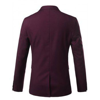 Lapel One Button Casual Blazer - Rouge vineux L