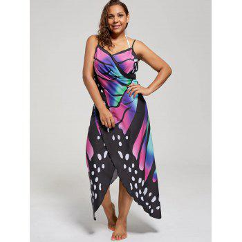 Plus Size Butterfly Wrap Cover Up Dress - COLORMIX 3XL