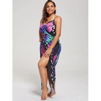 Plus Size Butterfly Wrap Cover Up Dress - COLORMIX XL