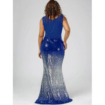 Plus Size Maxi Fishtail Dress - BLUE 2XL