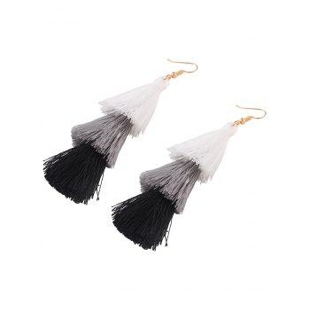Layered Tassel Hook Drop Earrings - BLACK / WHITE