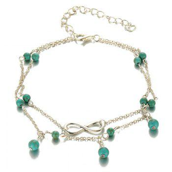 Faux Turquoise Layered Infinite Charm Anklet - SILVER
