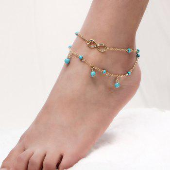 Faux Turquoise Layered Infinite Charm Anklet - GOLDEN GOLDEN