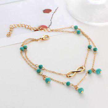 Faux Turquoise Layered Infinite Charm Anklet - GOLDEN