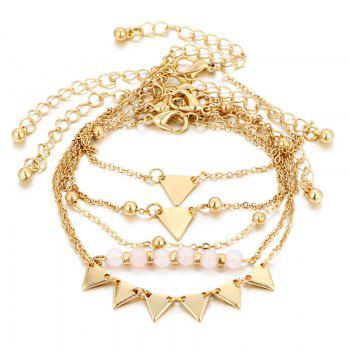 Triangle Beaded Ankle Set - GOLDEN