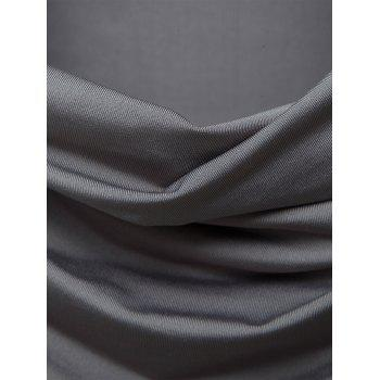 Cowl Neck Pleated Long Sleeve T-shirt - GRAY L