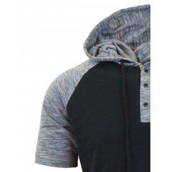 Hooded Drawstring Raglan Sleeve Panel Design T-shirt - BLACK BLACK