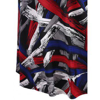 Cap Sleeve Printed A Line Plus Size Dress - COLORMIX 4XL