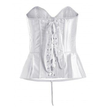 Lace-Up Bowknot Pleated Corset - WHITE XL
