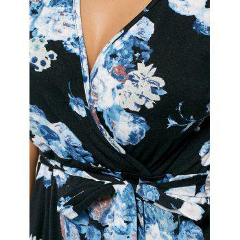 V Neck Floral Plus Size Tea Length Dress - BLUE 4XL