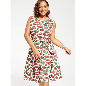 Plus Size Strawberry Print Pin Up Dress - WHITE 3XL
