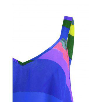 Plus Size Rainbow Stripe Spaghetti Strap Top - BLUE 5XL