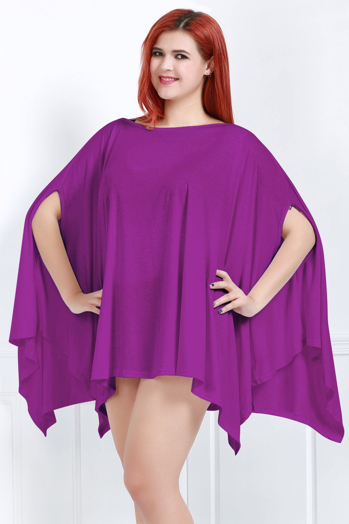 Handkerchief Plus Size Caped Top with Batwing Sleeve - PURPLE XL