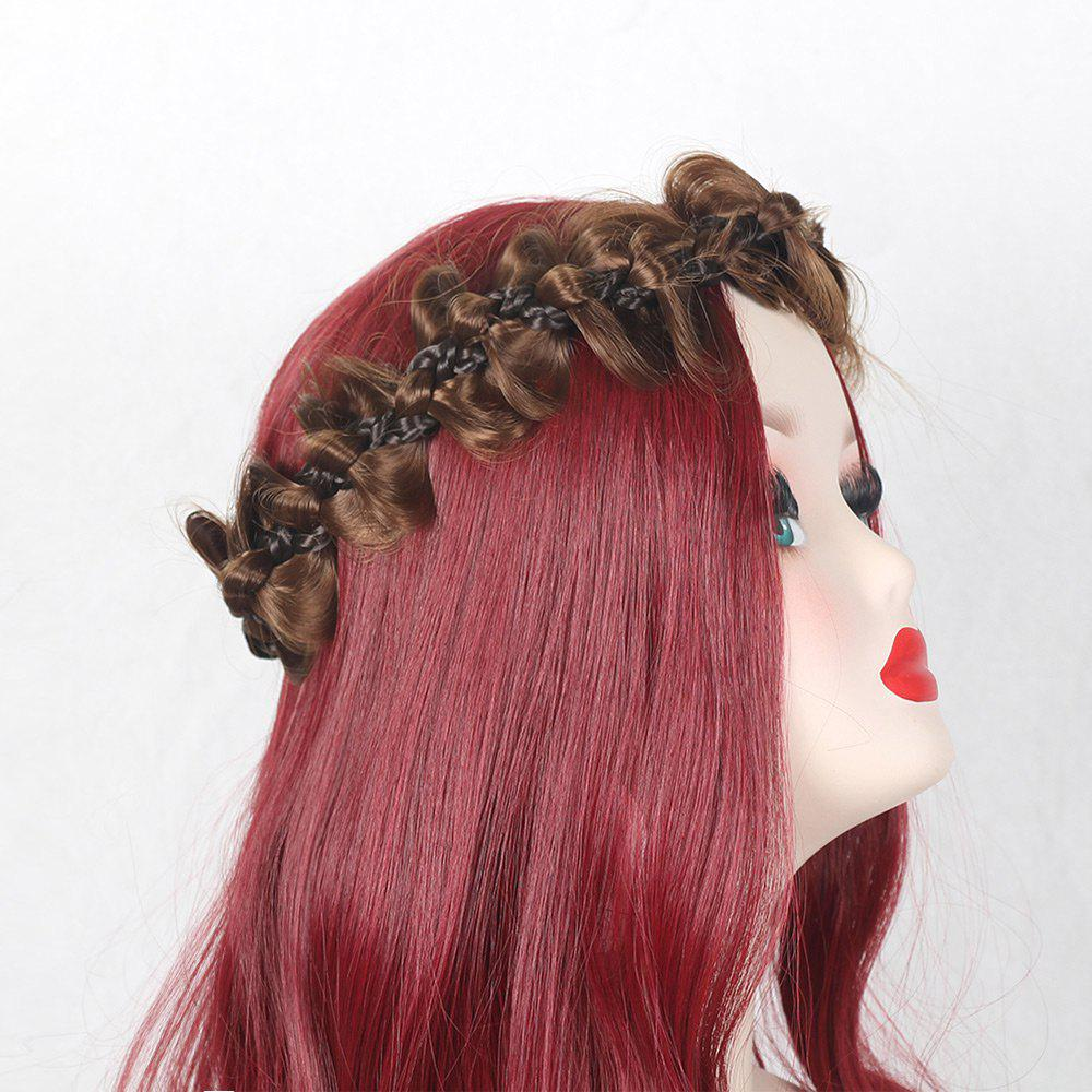 Colormix Bowknot Long Braided Headband - BLACK/BROWN
