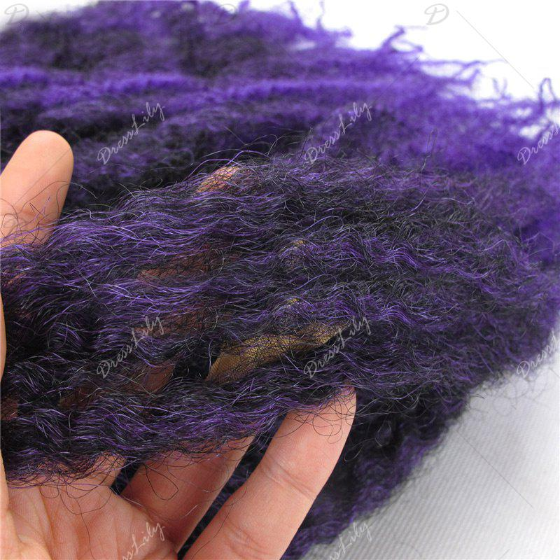 Long Colormix Fluffy Afro Kinky Curly Synthetic Hair Weft - PURPLE