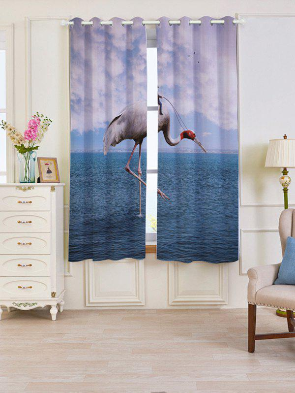 2 Panels Blackout Flamingo Sea Window Curtains - LAKE BLUE W53 INCH * L63 INCH