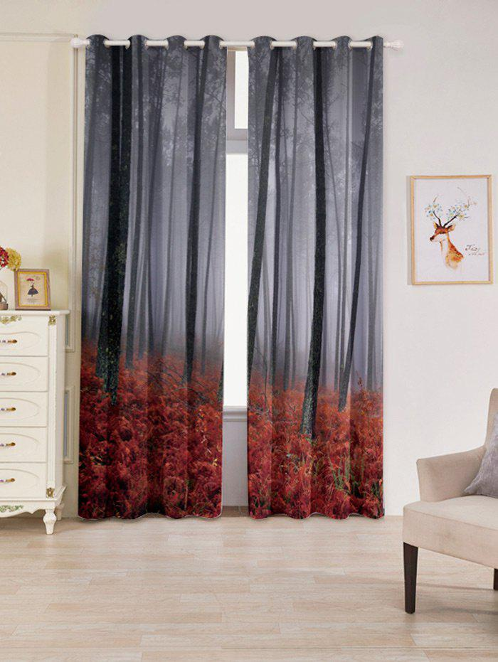 2 Pcs Forest Maple Leaf Blackout Window Curtains