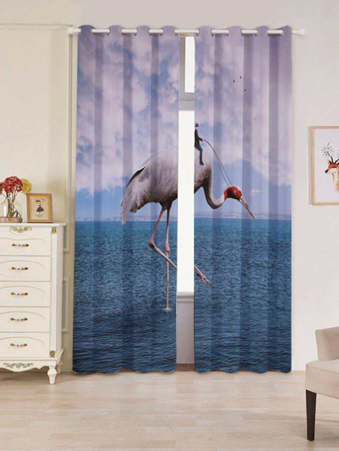 2 Panels Blackout Flamingo Sea Window Curtains - LAKE BLUE W53 INCH * L84.5 INCH