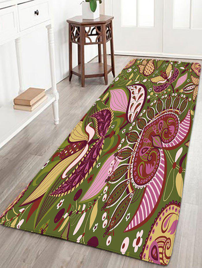 Bohemian Flower Skidproof Flannel Bath Rug vintage color block skidproof flannel bath rug