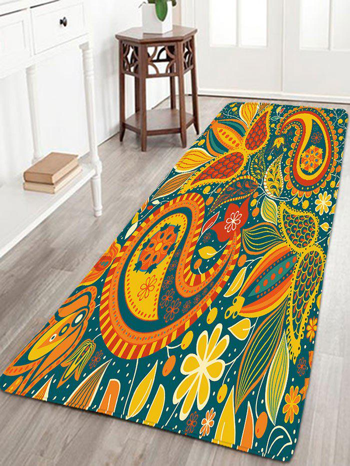 Bohemian Floral Printed Flannel Skidproof Rug - YELLOW W16 INCH * L47 INCH