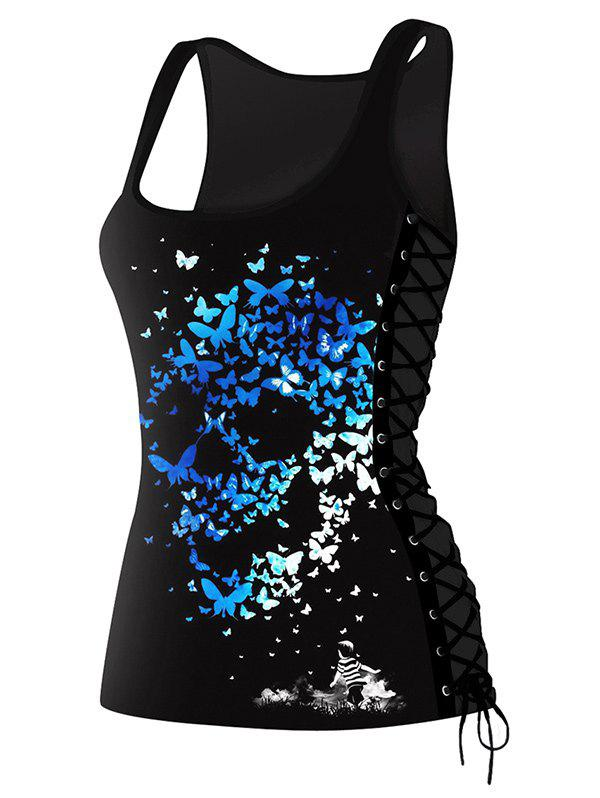 Butterfly Skulls Print Lace Up Tank Top silver sequins lace up backless cami top in butterfly shape