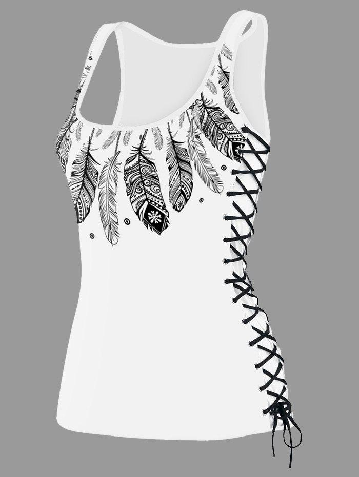 Feather Print Lace Up U Neck Tank Top - WHITE L