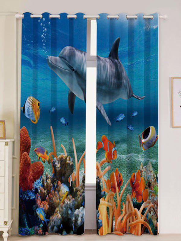 2Pcs Blackout Dolphin Ocean Window Curtains - BLUE W53 INCH * L84.5 INCH