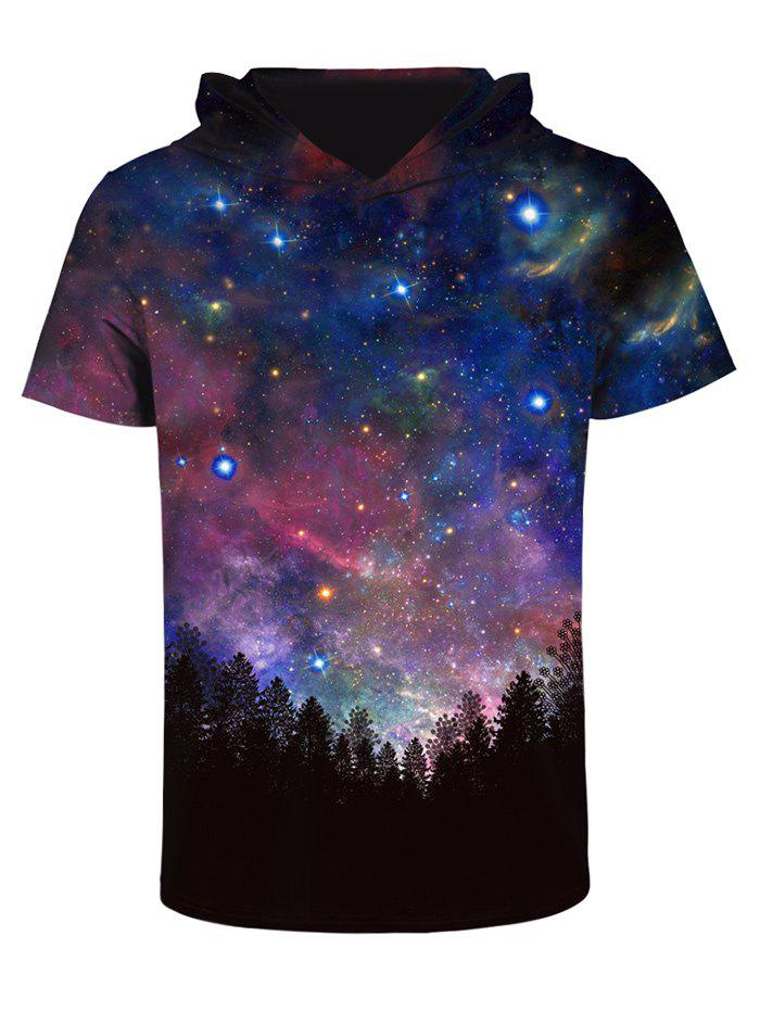 Hooded 3d starry sky print galaxy t shirt colormix l in for Galaxy white t shirts wholesale