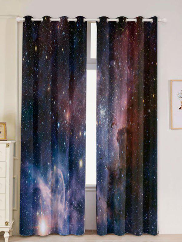 2 Pcs Blackout Universe Space Window Curtains - DEEP BLUE W53 INCH * L96.5 INCH